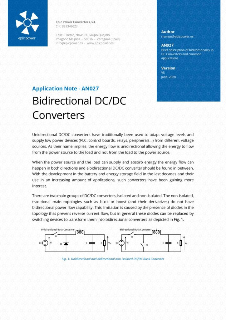 Bidirectional DC/DC converters and common applications