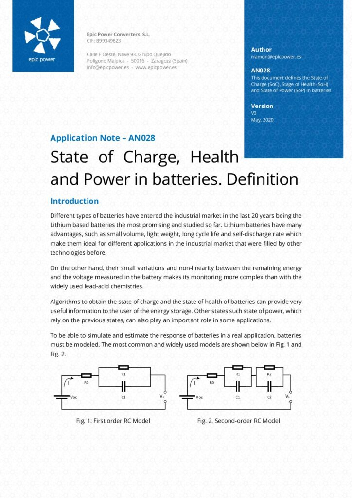 State of Charge, Health and Power in Batteries. Definition.