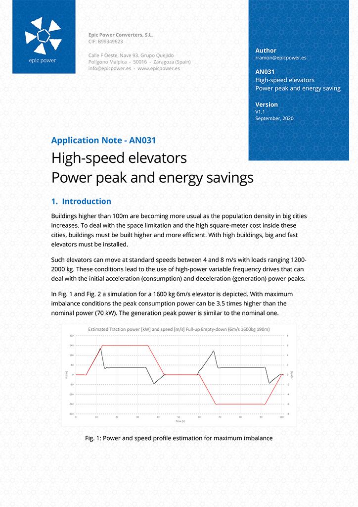High-speed elevators. Power peak and energy savings.